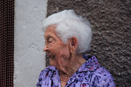 Elderly woman with white hair